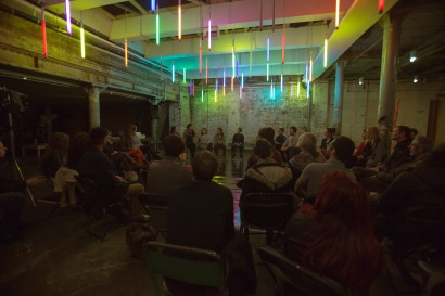 Q&A at the Second Kaleidoscopic Arts Platform at Testbed1 at The Doodle Bar. Photograph: Abigail Yue Wang