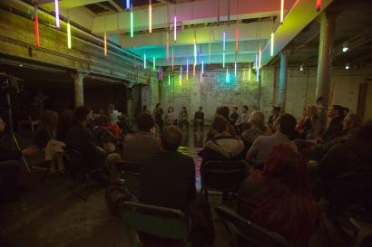 Q&A at the Second Kaleidoscopic Arts Platform at Testbed1 at The Doodle Bar. Photograph: Abigail Yue Wang